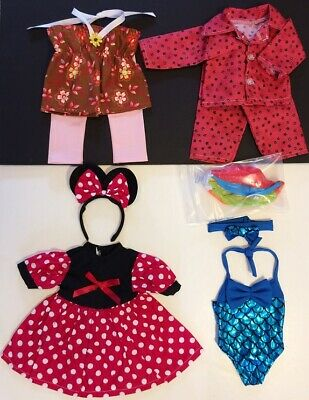 """18"""" Doll Clothes LOT fits 18"""" American Girl Minnie Mouse Swimsuit Pajamas 33C"""
