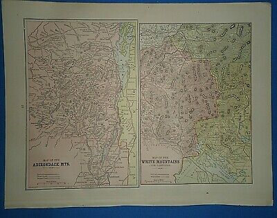 Vintage 1893 ADIRONDACK & WHITE MOUNTAINS MAP Old Antique Original Atlas Map ~