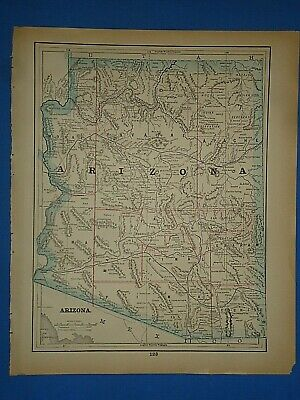 Vintage 1893 ARIZONA TERRITORY MAP Old Antique Original Atlas Map ~E