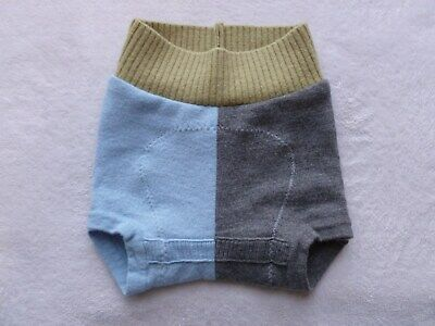 wool diaper cover soaker shortie shorties shorts merino blue & gray
