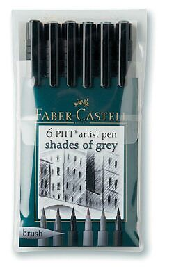Faber-Castell Fc167104 Pitt Artist Brush Pen Grey 6-Color Set