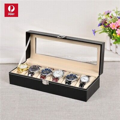 Leather Watch Jewelry Display Storage Holder Case 6 Grids Box Organizer Gift New