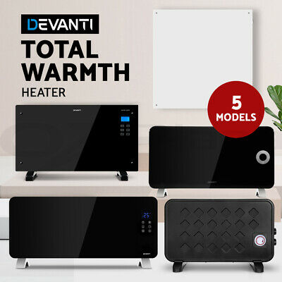 Devanti 2000W Electric Metal Glass Panel Convection Heater Portable Remote/ WIFI