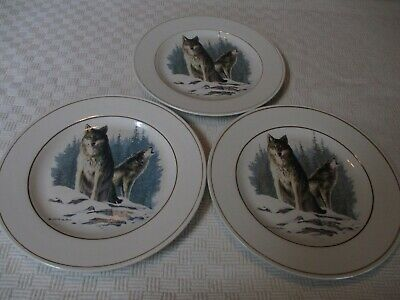 """Set 3 Hautman Brothers Wolves Call Of The North Dessert Salad Plates 9"""""""