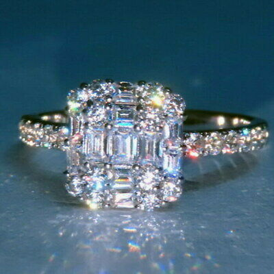 100% NATURAL EFFECT 2Ct Diamond 14K White Gold Engagement Wedding Ring R3-2