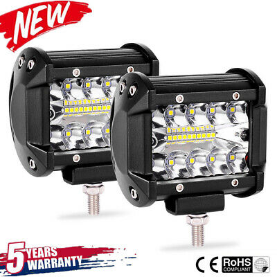 2pcs 4inch 200W CREE LED Work Light Bar Pods Flush Mount Combo Driving Lamp 12V~
