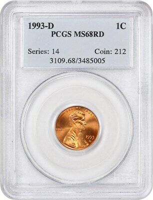 1993-D 1c PCGS MS68 RD - Lincoln Cent