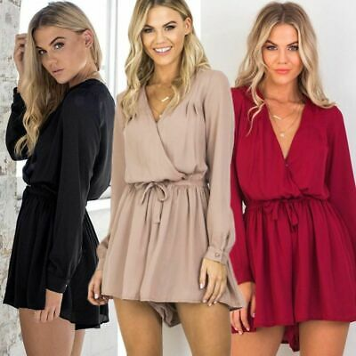Summer Jumpsuit Women Romper Bodysuit Vneck Long Sleeve Catsuit Chiffon Playsuit
