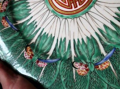 Vintage Handpainted Hong Kong Oriental Plate Butterfly Feather Leaf Green Rim