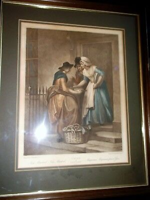 Large Antique Framed Glazed Wheatly Print Cries Of London New Mackarel 5