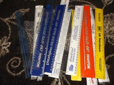 Job Lot Of 14 Plastic Rulers Good Variety Of Sizes Colours & Designs