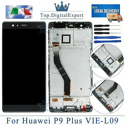 LCD Huawei P9 Plus VIE-L09 L29 NERO Display Schermo Originale TOUCH SCREEN FRAME