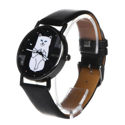 Women Casual Watch Cat Dial Leather Stainless Steel Analog Quartz Watches UK