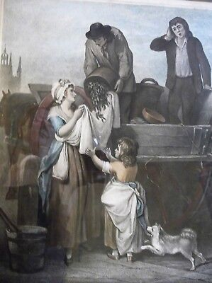Large Antique Framed Glazed F Wheatly Print Cries Of London Fresh Gather Peas 7