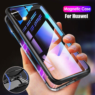 Magnetic Adsorption Metal Case For Huawei Mate 20 Lite New Tempered Glass Cover