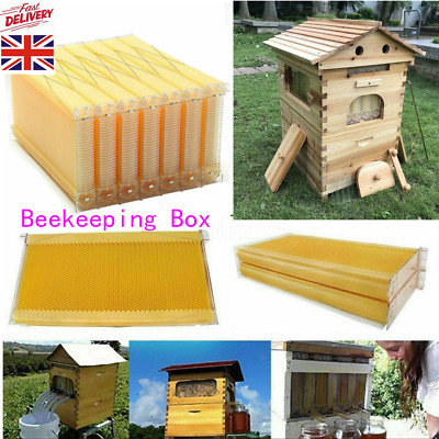 Double Beehive Super Beekeeping Brood House Box w/ 7 Auto Honey Bee Hive Frames