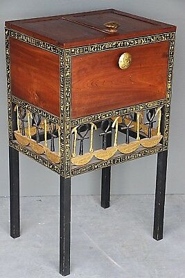 Museum Antique ancient Egyptian pharaoh cedar chest trunk gilt carved painted