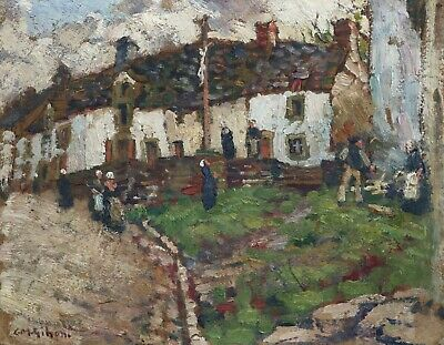 Clarence Gihon (1871-1929) Signed American Impressionist Oil Figures Village