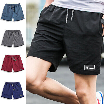 Men Summer Casual Shorts Athletic Gym Sports Training Swimwear Short Pants Solid