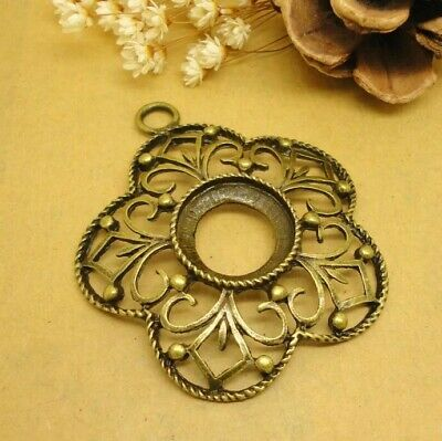 4pcs antiqued bronze color crafted flower shaped  drop pendant  charms  H2539