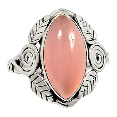Aqua Chalcedony 925 Sterling Silver Ring Jewelry S.8.5 Ar57686 43q Leaves Gemstone Fine Rings