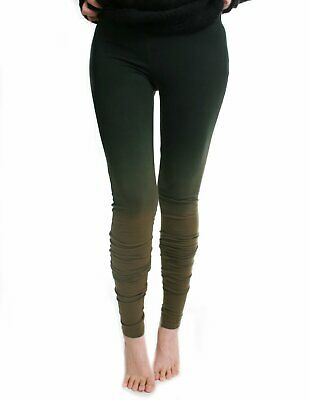 Size 8 Tall Long Slouch Ruched Punk Dip Dye Smoke Green Ombre Cotton Leggings