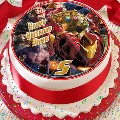 Ironman -  Avengers Birthday Personalised 7.5 Inch Edible Cake Topper Bb007
