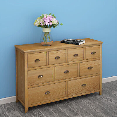 Chest of 9 Drawers Oak Finished Sideboard Storage Cabinet Wooden Furniture UK