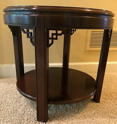 Solid Wood Vintage Drexel Heritage Round Side Table