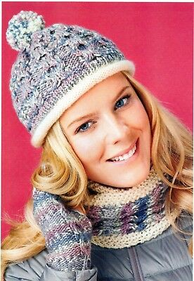 ~ Pull-Out Knitting Patterns For Lady's Lovely Cowl,Hat & Mitts & Clock Cover ~