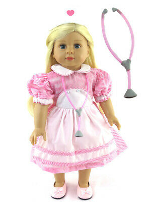 """American Girl 18"""" Doll Outfit Candy Stripe Dress with Stethoscope Hat New in Bag"""