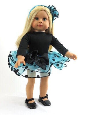 """American Girl 18"""" Doll Outfit Blue and Black Polka Dot TuTu New in Bag"""