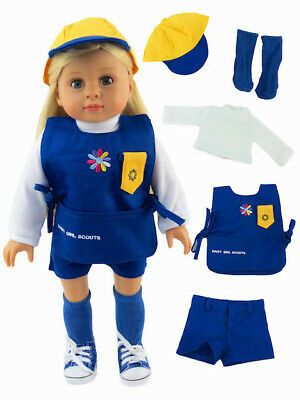 """American Girl 18"""" Doll Outfit Daisy Scout Hat shirt socks shorts New in Bag"""