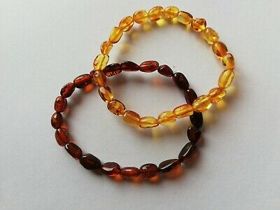 Natural Baltic Amber Adult Beaded Bracelet Mens Women 14 size