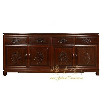 Vintage Chinese Carved Rosewood Sideboard Buffet Table