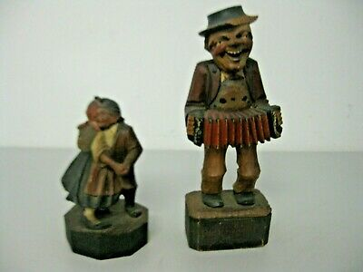 Vintage Hand Carved Wooden Dancing Couple and According Player Figurines Germany