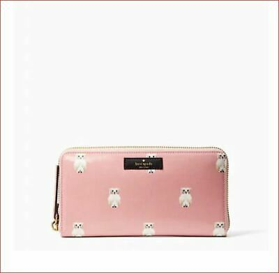 New Authentic Kate Spade Daycation Neda Painterly Owl Zip-around Wallet WLRU5086
