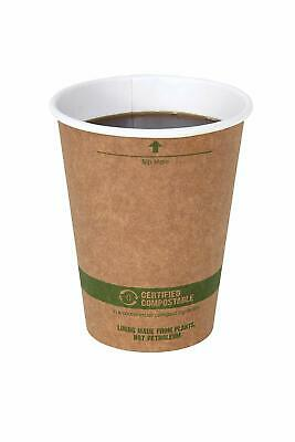 World Centric 100% Biodegradable, Paper 12 Ounce Kraft Coffee Hot Cup, 100 Pack