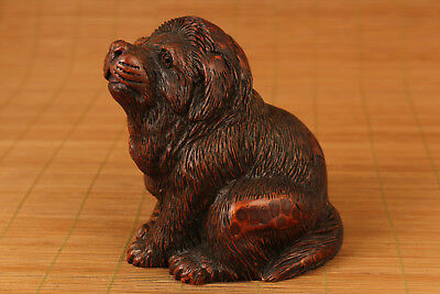 antique bamboo root hand carved big dog statue netsuke Tibetan Mastiff
