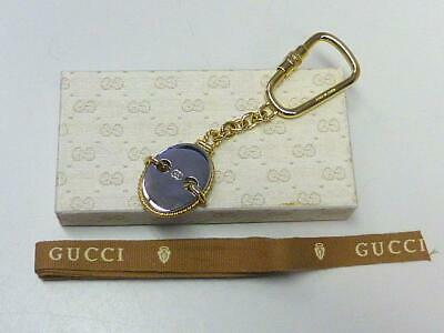 304babb87ec Vintage GG GUCCI Silver   Gold Tone Fob Key Ring Chain w Original Box