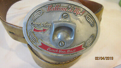 Bottom's Up Quench your thirst bottle opener belt & buckle