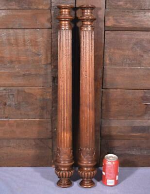 "28"" Pair of French Antique Walnut Wood Posts/Pillars/Columns"