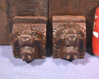 Pair of French Antique Carved Oak Wood Lion Heads/Faces
