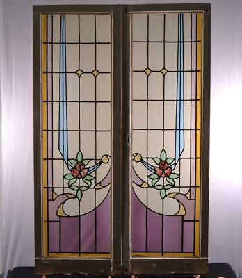 Pair of Antique Art Nouveau Period Leaded Stained Glass Windows
