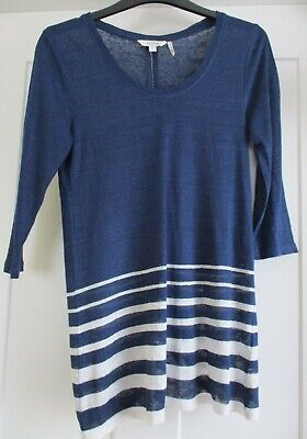 LADIES SMALL FAT FACE l/s LIGHTWEIGHT KNIT NAVY w WHITE STRIPE LINEN TOP
