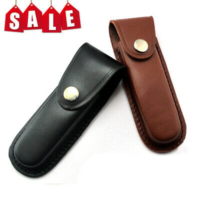 """5"""" Leather Sheath Pocket for Folding Knife Multi Tool Case Cover Pouch Holster"""
