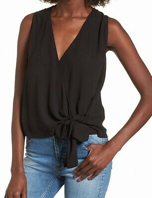 0751d1eee22a99 Lush NEW Black Women's Size Medium M Wrap Tied-Front V-Neck Solid Blouse