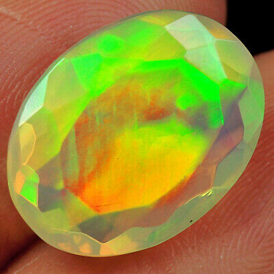 Opal 1ct 100% Natural Ethiopian Welo Opal Faceted Cut Play Of Color Qol50 White & Precious Opals