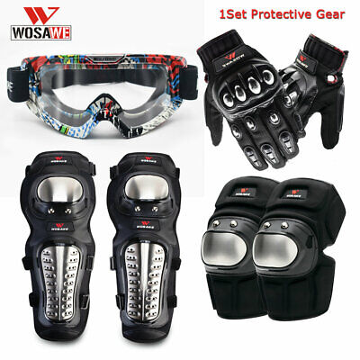Motorbike Motorcycle Armor Knee Elbow Pads Goggles Gloves Body Protective Gear