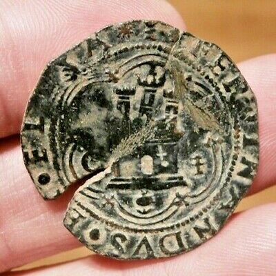 1492 PIRATE FERDINAND & ISABELLA SPANISH 4 Maravedis Colonial Coin COLUMBUS ERA
